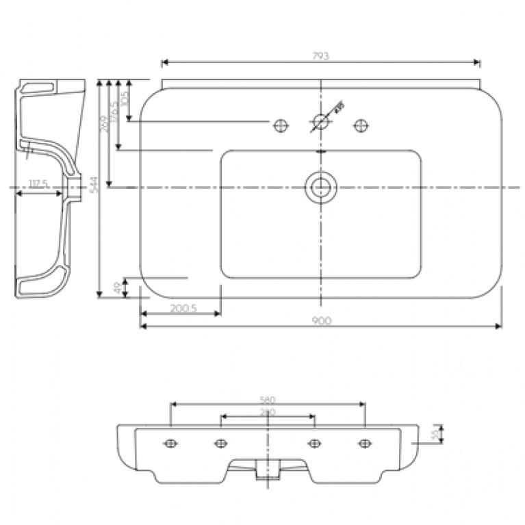 EGO умывальник мебельный с отверстием, с переливом 90*54,4 см (пол.) K11191000, фото 2