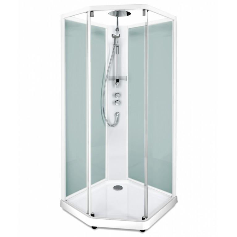SHOWERAMA 10-5 Comfort задние стенки душевой пятиугольной кабины 100*100см, белый профиль/матовое стекло
