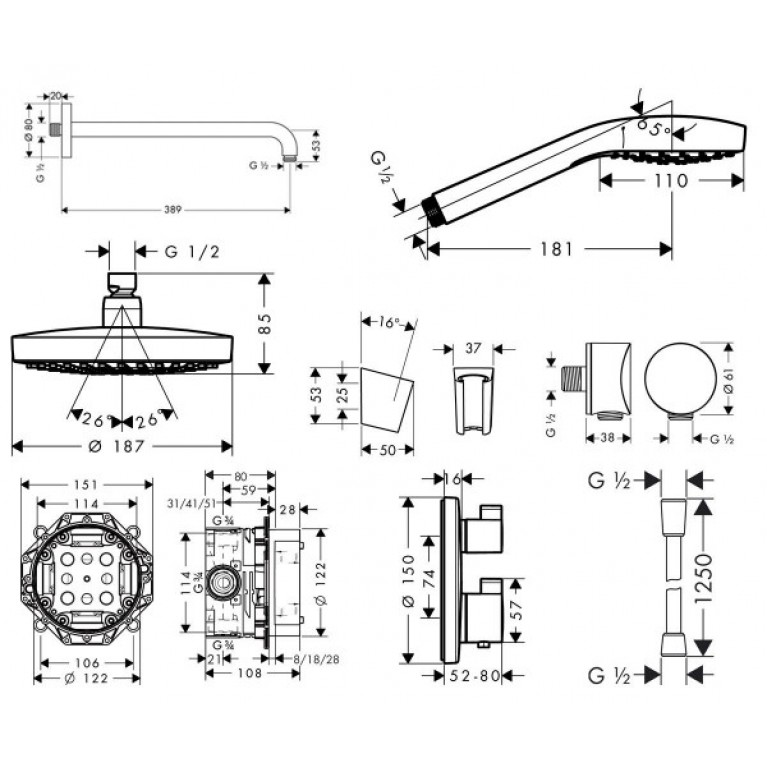 ShowerSet Croma Select S/Ecostat S Душевой набор 27295000