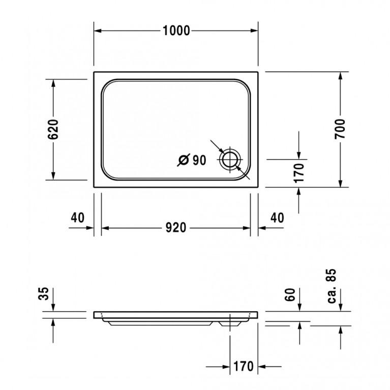 D-CODE душевой поддон 100*70*8,5см, прямоугольный 720093000000000, фото 2
