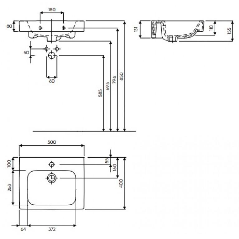 MODO умывальник с отверстием,с переливом 50*40 см (пол.) L31950000, фото 2