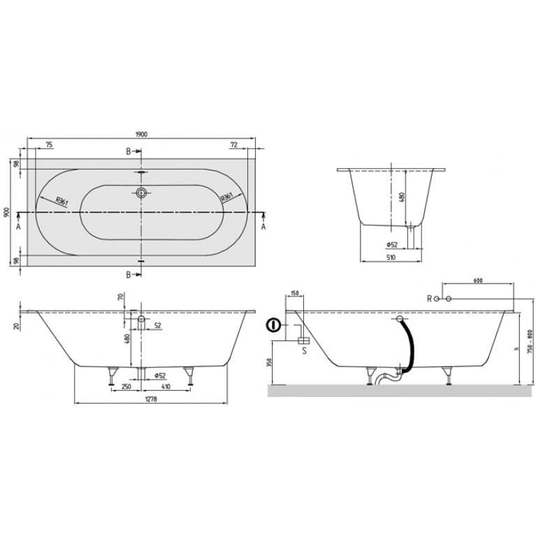 OBERON ванна 190*90см с ножками UBQ199OBE2V-01, фото 2