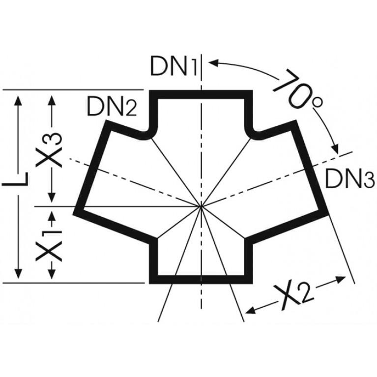 Крестовина одноплоскостная DUKER SML 70, 100х100х100 мм 663864