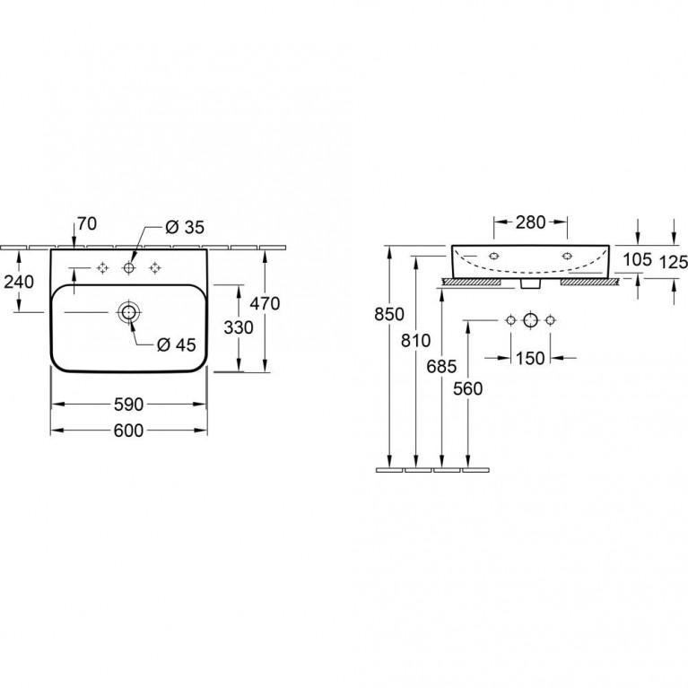 FINION умывальник 60*47см, для 3-х позиц.смесителя, центр.отв.выбито, с переливом, цвет белый альпин С+ 41686GR1, фото 3