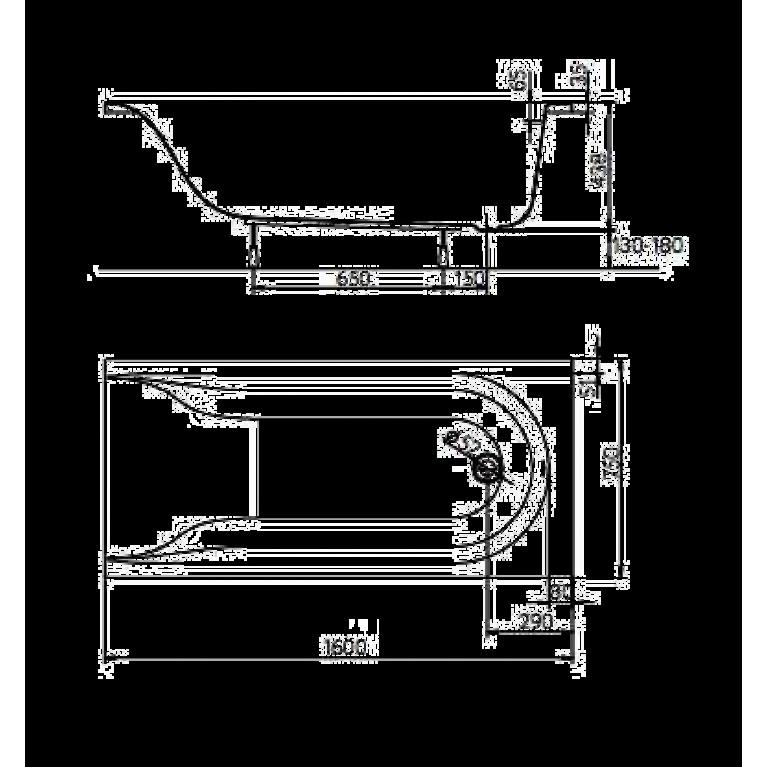 MIRRA ванна прямоугольная 160*75 см, с ножками SN0 и элементами крепления XWP3360000, фото 2