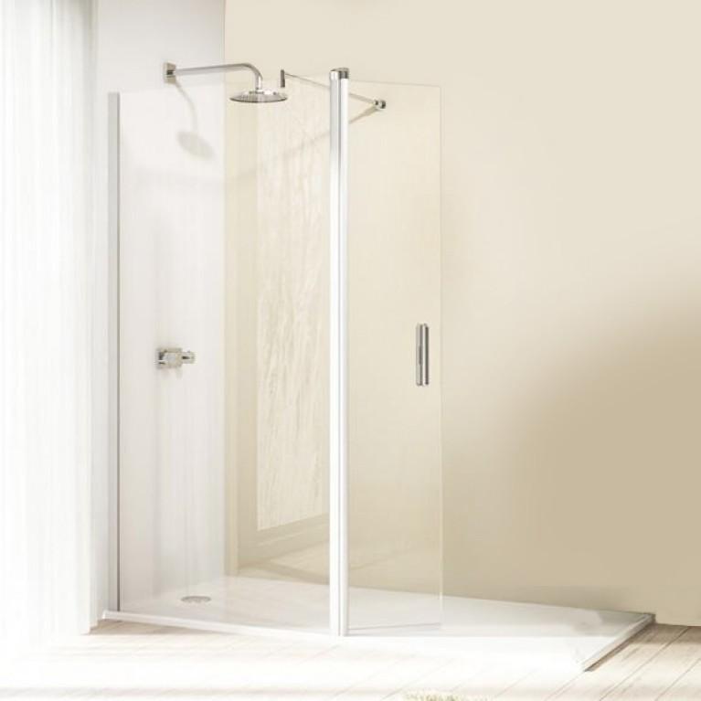 ENJOY ELEGANCE  WALK IN дверь распашная с неподвижным сегмент 150*200см (профиль мат серебро, стекло прозр ), фото 1