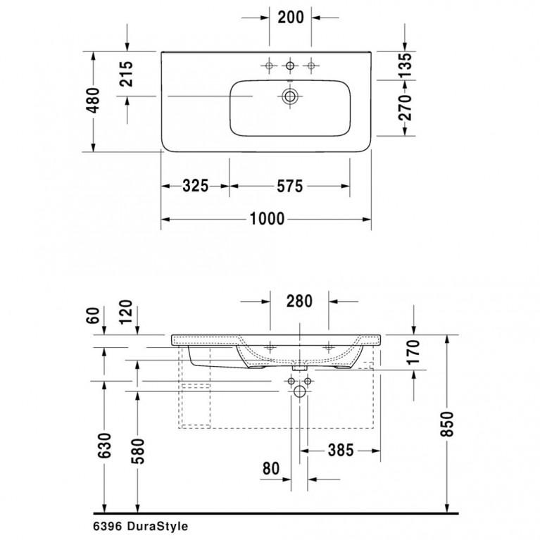 DURASTYLE умывальник 100*48см, для мебели, ассиметричный, с 1м отв. под смеситель, раковина справа, с переливом 2326100000, фото 2