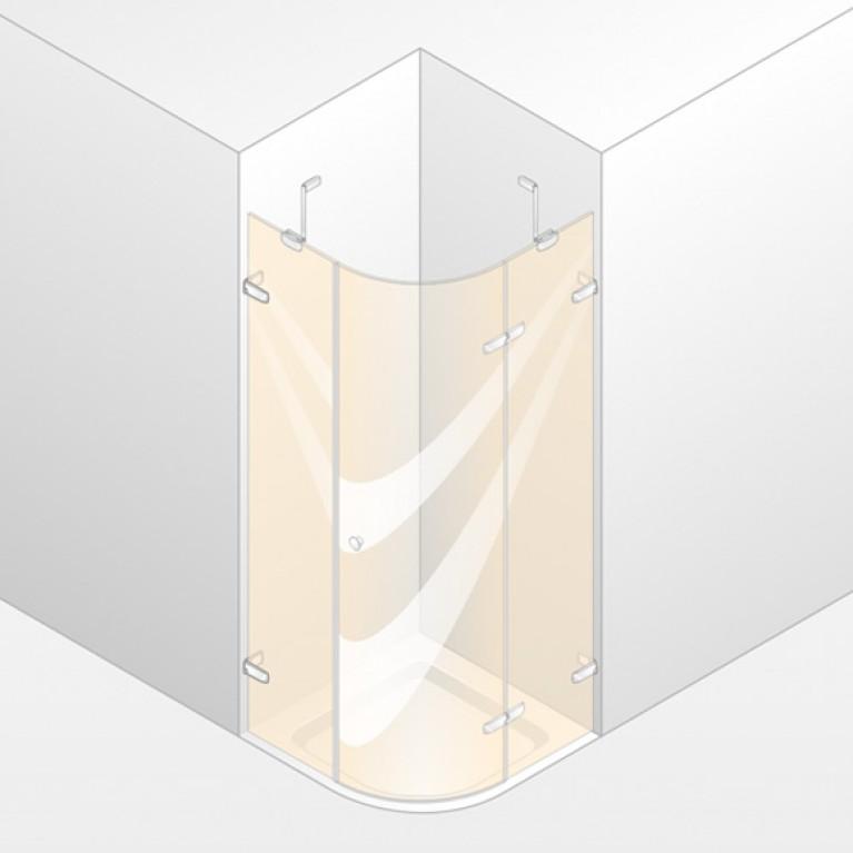 ENJOY ELEGANCE дверь распашная для ниши 75*200см (проф гл хром,стекло прозр Antipl) с удобн ручкой,установка на пол, фото 1