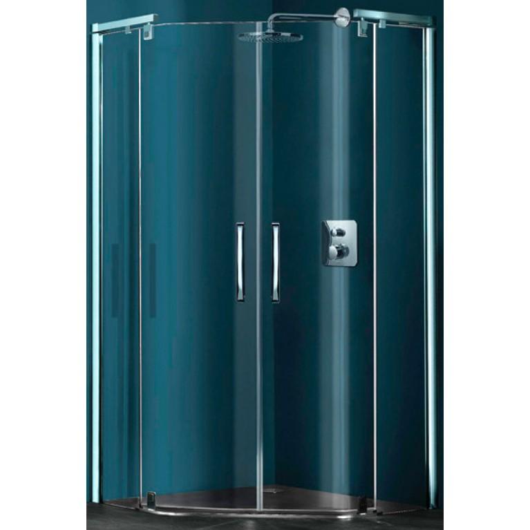 REFRESH PURE Душевая кабина, 5-угольная 100*100 с двумя распашными дверьми (цв серебро мат + стекло прозр)