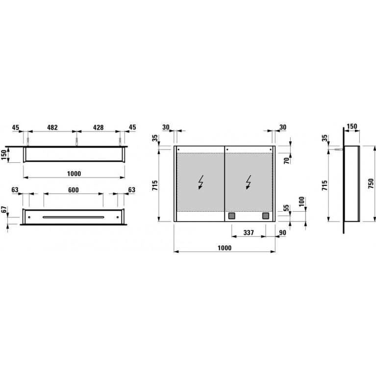 FRAME 25 зеркальный шкафчик 75*100*15см, с 2мя дверцами, с подсветкой, с сенсорным выключателем, с EU розеткой H4086039001441, фото 2