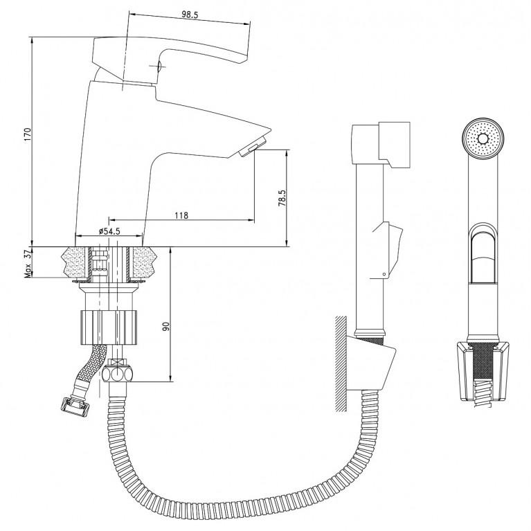 HORAK набор для биде (смеситель + гигиенич душ с держателем  + шланг 1,5м) 05170BT, фото 2