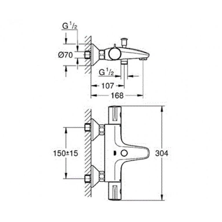 "Grohtherm 800 Термостат для ванны 1/2"", настенный монтаж 34567000"