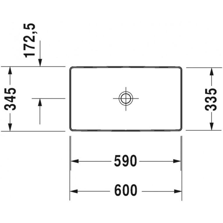 DURASQUARE умывальник 60*34,5см, без отв. под смеситель, без перелива, с керам. крышкой донного клапана 2355600000, фото 2