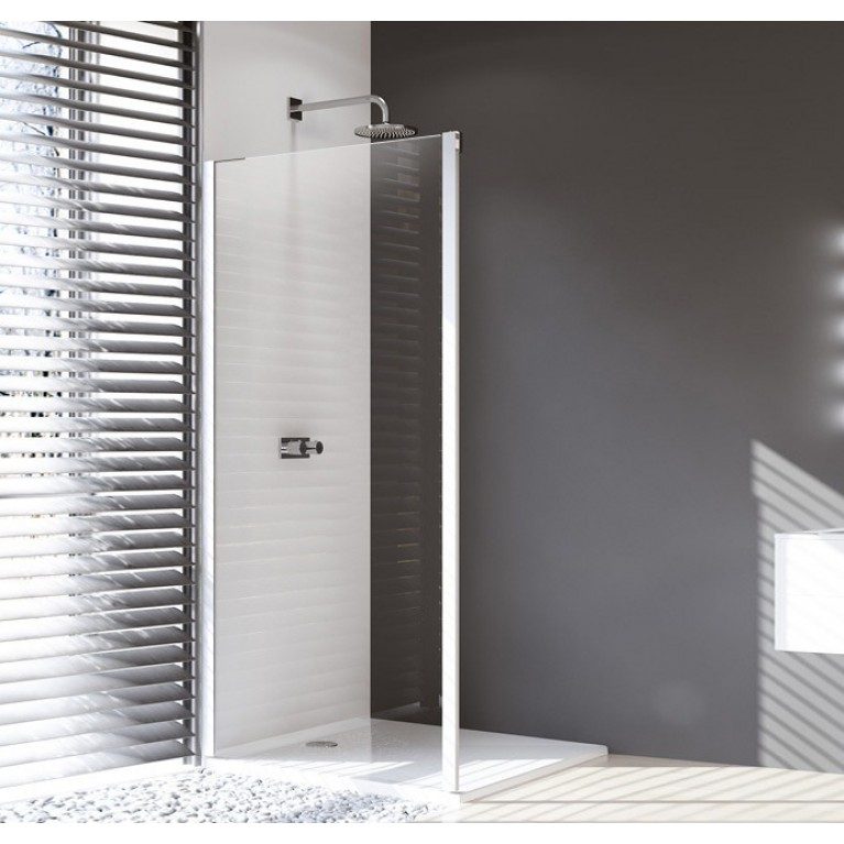 DESIGN ELEGANCE стенка боковая для раздв двери 100*200см (проф мат серебро, стекло прозр Antiplaq)