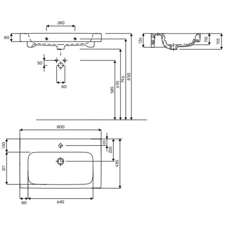 MODO умывальник с отверстием,с переливом 80*48,5 см (пол.) L31980000, фото 2