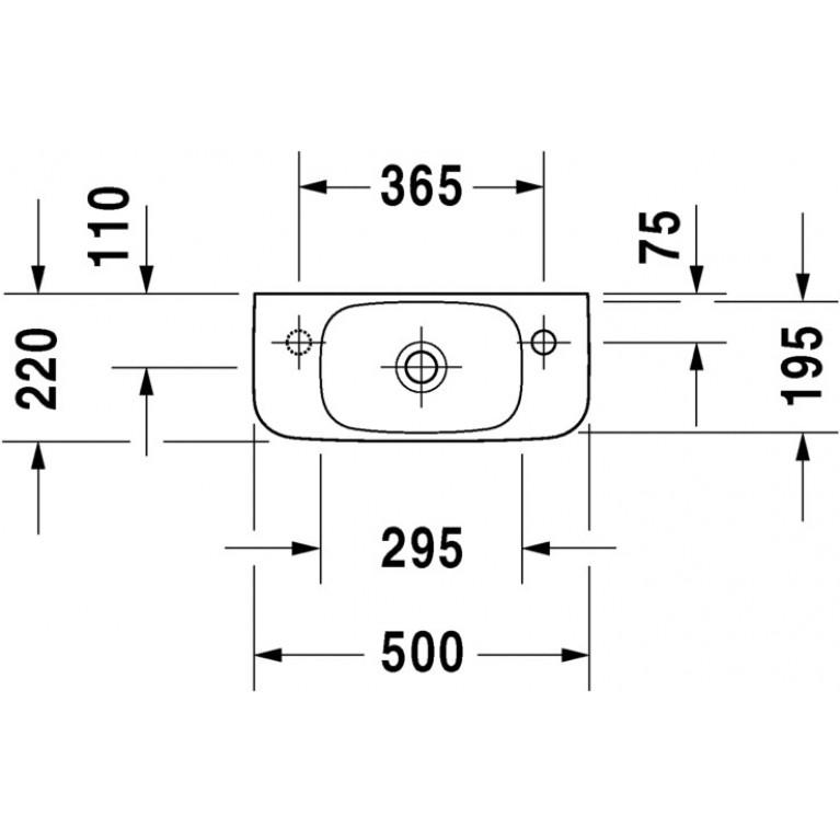DURASTYLE умывальник для рук 50*22см, без перелива, с отверстием под смеситель справа 0713500008, фото 2