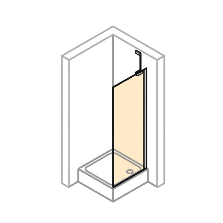 ENJOY ELEGANCE Стенка боковая для распашной двери 90*200см (глянц хром, стекло прозр Anti Plaque) 3T3003092322, фото 2