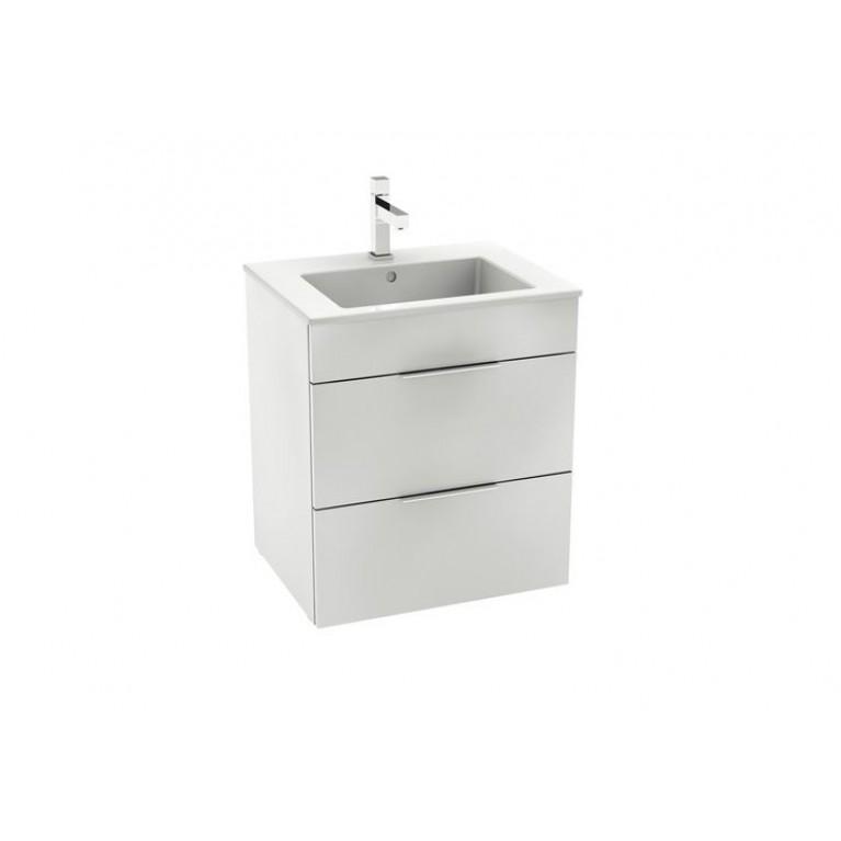 SUIT тумба 540*422*620мм с раковиной, 1 отверстие под смеситель, 2 выдвижных шкафчика, цвет белый глянец