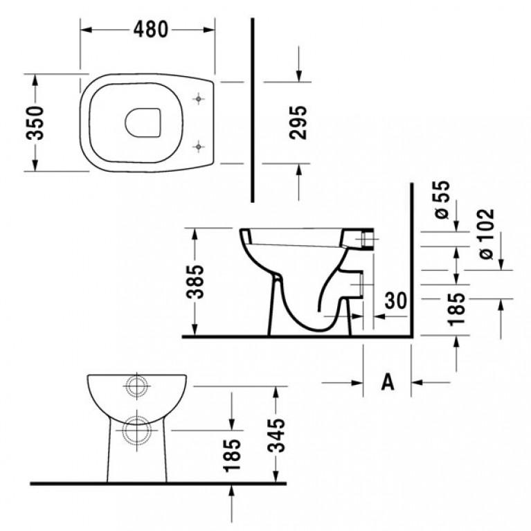 D-CODE унитаз 35*48см, напольный, для независимого подключения воды, с вертикальным смывом, включая крепление, сток горизонтальный 21080900002, фото 2