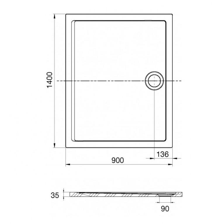 AERON поддон 140*90*3,5см, из искусств. камня STONEX, прямоугольный, с трапом и сифоном в комплекте, цвет белый A276296100, фото 2