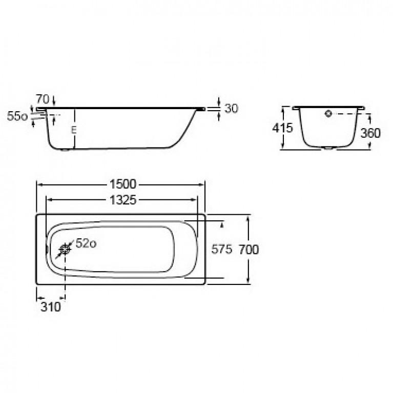 CONTESA ванна 150*70см прямоугольная, без ножек A236060000, фото 2