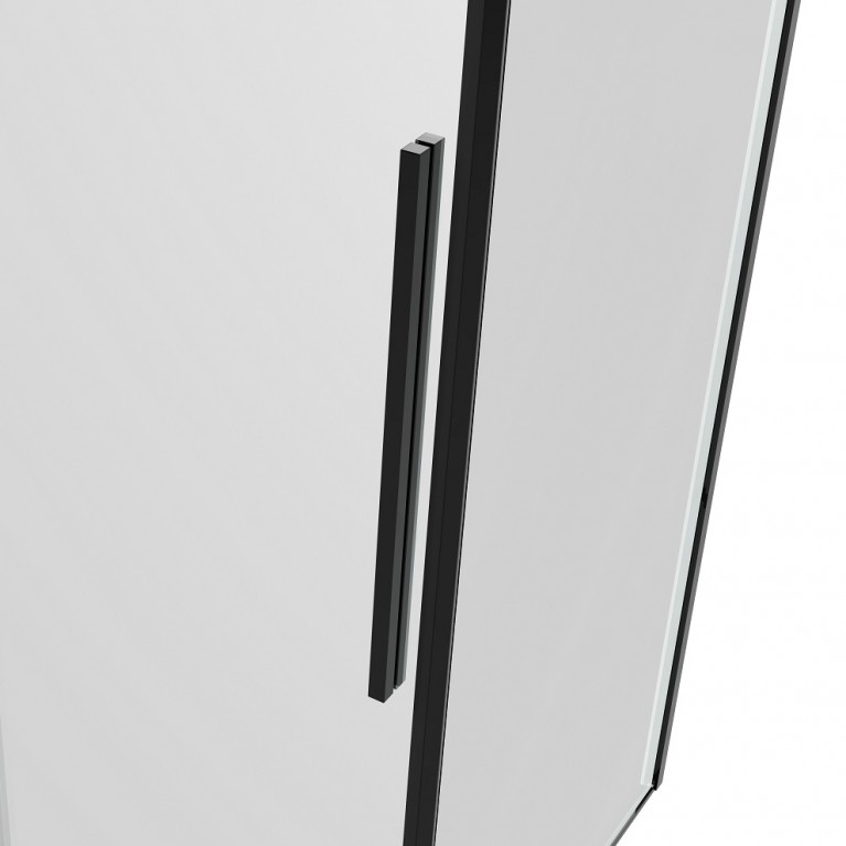 A LÁNY Душевая кабина квадратная 900*900*1950 (стекла+двери), двери раздвижные, стекло прозрачное  6 мм, профиль черный 599-551/1 Black, фото 6