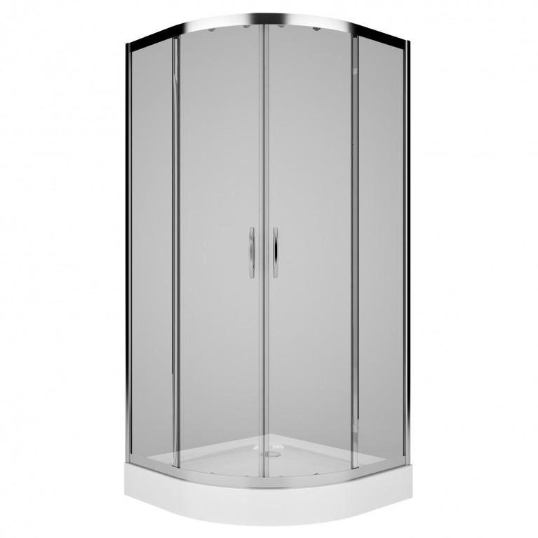 Купить REKORD кабина полукруглая 90*90 см, профиль серебристый металлик, стекло прозрачное у официального дилера KOLO Польша в Украине
