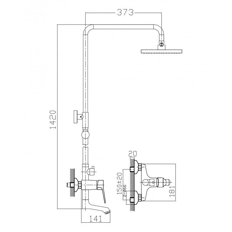 WITOW система душевая (смеситель для ванны, верхний и ручной душ) T-10080, фото 2