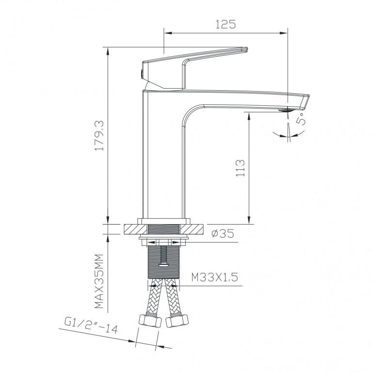 GRAFIKY смеситель для раковины,  35 мм ZMK041807010, фото 2