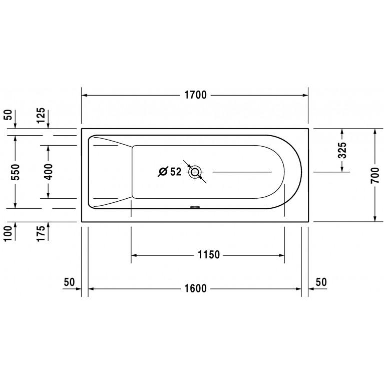 DARLING NEW ванна 170*70*46см, встраиваемая версия или версия с панелями, с наклоном для спины слева 700240000000000, фото 3