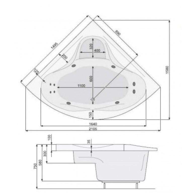 FRANCJA XL ванна 150*150см, с системой аэро и гидромассажа System Smart 2+ PHSH710ST2C1960, фото 2