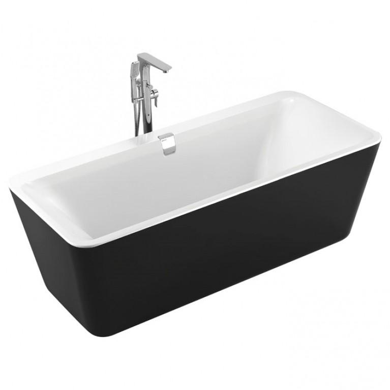 Ванна отдельно стоящая 1800*800*620мм, акриловая, слив-перелив, черно/белая