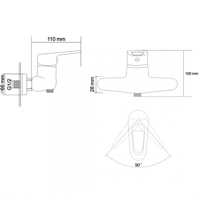 NARCIZ смеситель для душа однорычажный,  хром  40мм RBZ100-5, фото 2