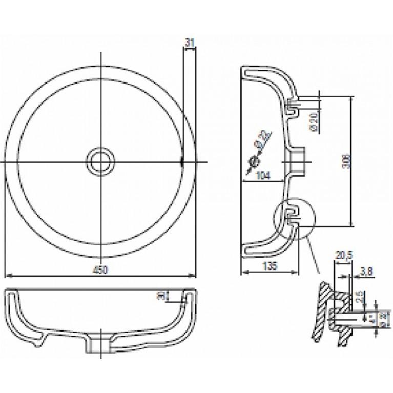 EGO умывальник встраиваемый на столешницу без отверстия,с переливом 45 см (пол.) K12145000, фото 2