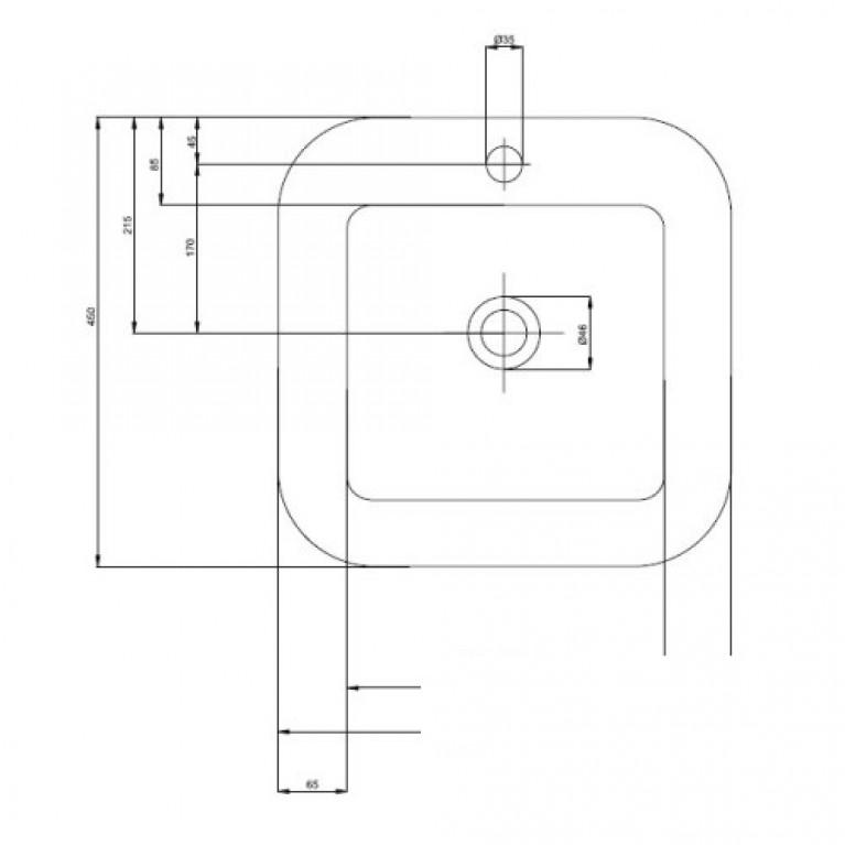 COCKTAIL умывальник 45см, квадратный, встраиваемый в столешницу L31846000, фото 2