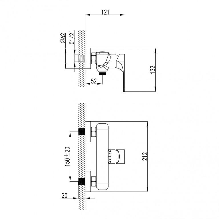 BILINA смеситель для душа, хром, 35 мм 15225