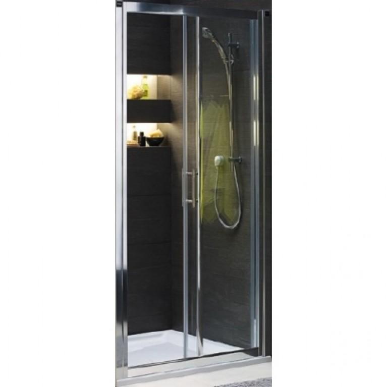 GEO 6 двери раздвижные 100 см, закаленное стекло, серебряный блеск, фото 1