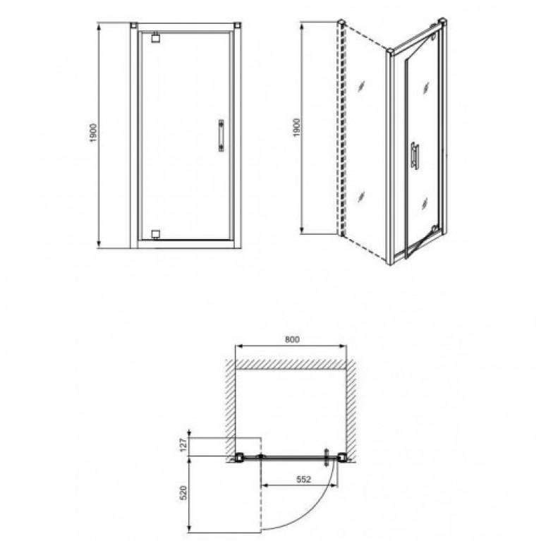 GEO 6 двери bifold, 80 см, для комплектации с боковой стенкой GEO 6 80см. серебряный блеск GDRB80222003, фото 2