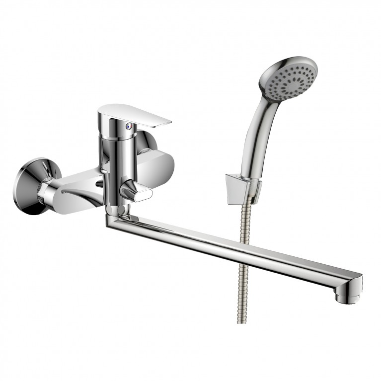 LOTUS смеситель для ванны однорычажный, переключатель ванна/душ встроен в корпус, L-излив