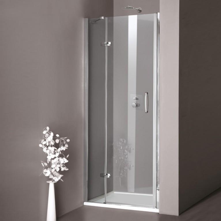 AURA дверь распашная с неподвиж.сегментом для ниши,70*200 см,(проф матов серебро,стекло прозр.Anti Plaque)kpепление слев