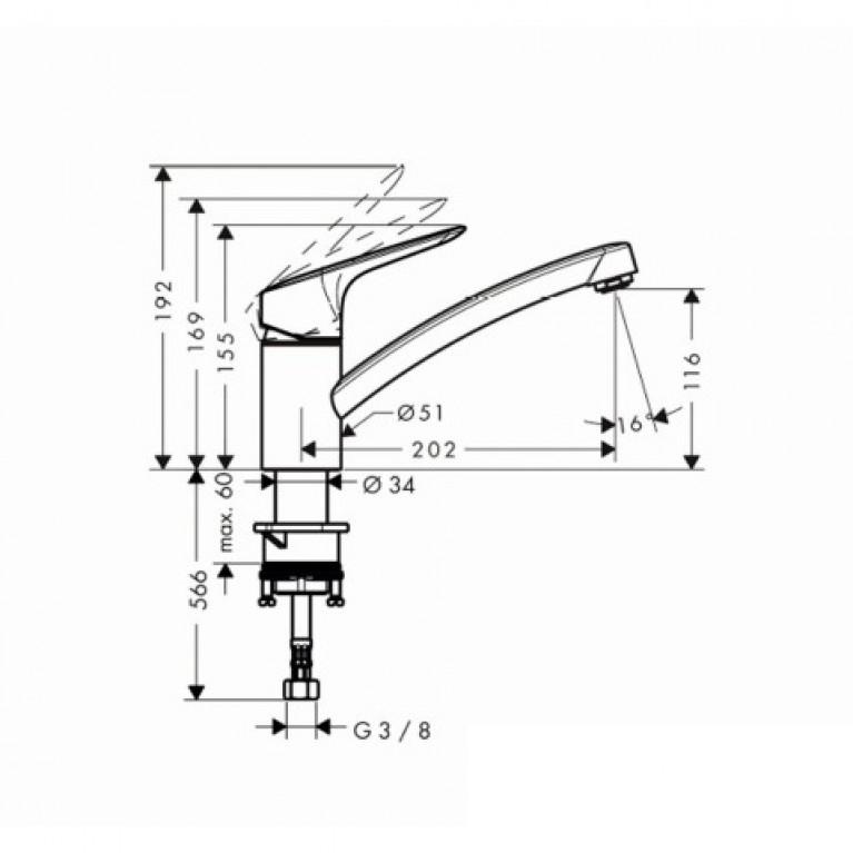 MySport S Смеситель для кухни, однорычажный (steel optic) 13860800, фото 2