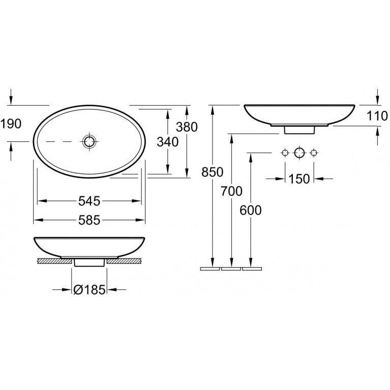 LOOP & FRIENDS умывальник 58,5*38см для установки на столешницу, белый альпин 51510001, фото 2