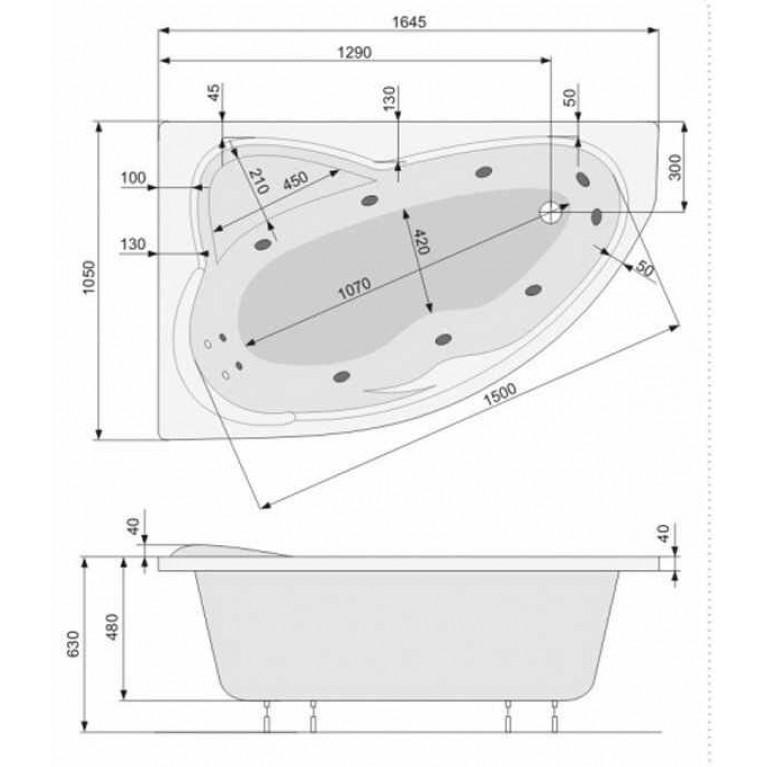 EUROPA ванна 165*105см, левая, с системой аэро и гидромассажа Smart 2 PHA4810ST2C0000, фото 3