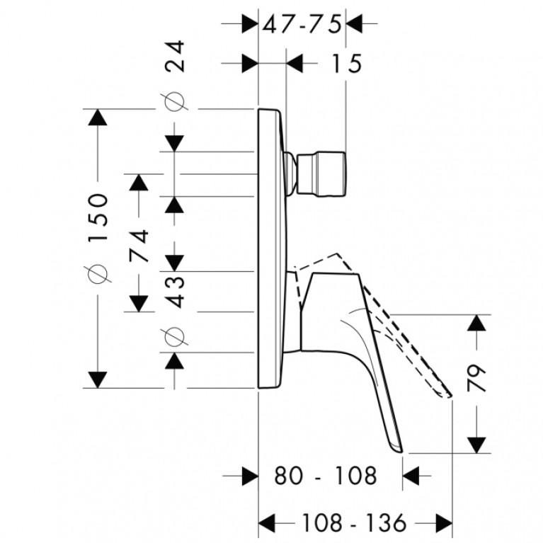 Смеситель для ванны HANSGROHE Focus E2 однорычажный 31945000, фото 2