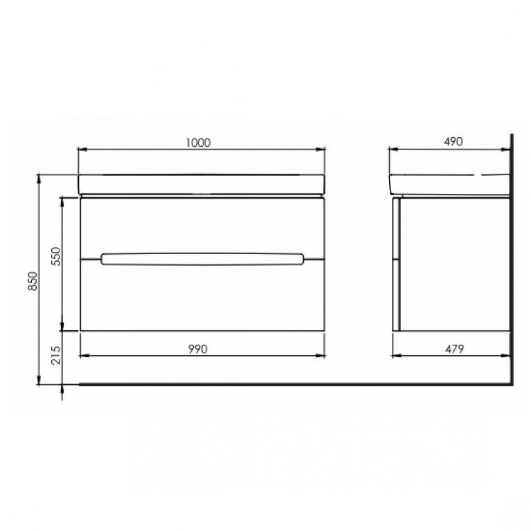MODO шкафчик под умывальник 99*55*47,9 см белый глянец (пол.) 89507000, фото 2