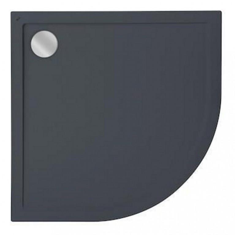 AERON поддон 80*80*3,5см, из искусств. камня STONEX, полукруглый, с трапом и сифоном,  R450mм, цвет графит, фото 1