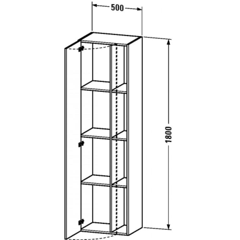 DURASTYLE высокий шкаф 50*36см, петли дверцы справа, цвет белый мат DS1249R1818, фото 2