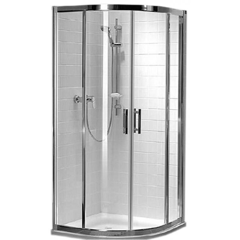 GEO 6 кабина полукруглая 80*80 см, двери раздвижные, закаленное стекло, серебряный блеск , часть 1/2, фото 1