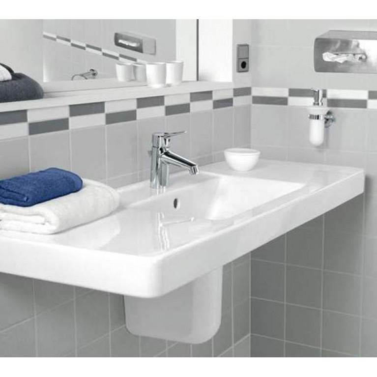 ARCHITECTURA умывальник 130*48,5см, мебельный, для 3-позиц.смесителя, центр.отв.выбито, с переливом, белый альпин 61181301, фото 3