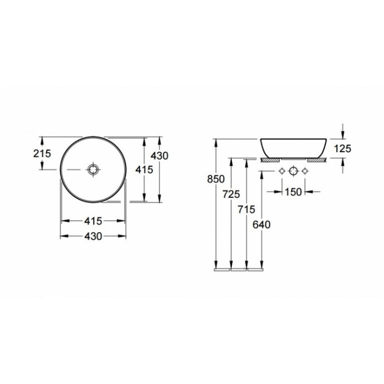ARTIS умывальник43см для установки на столешницу, круглый, без отв. для смес., без перелива, белый альпин 41794301, фото 2